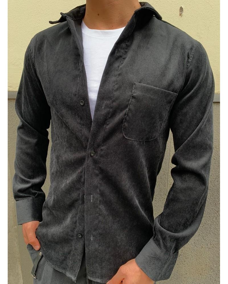 Camicia velluto nero