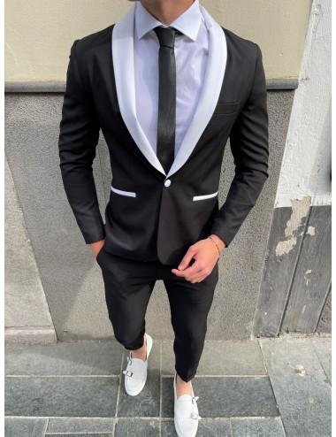 giacca nera rever bianco